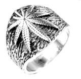 SILVER POT LEAF STAINLESS STEEL BIKER RING (sold by the piece)