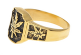 SQUARE GOLD  POT LEAF METAL BIKER RING (sold by the piece)