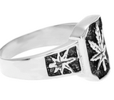 SQUARE SILVER POT LEAF METAL BIKER RING (sold by the piece)