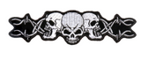 TRIPLE SKULL HEAD SKULL HEADS BARBED WIRE EMBROIDERED PATCH  (sold by the piece )