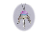 18 INCH METAL DREAM CATCHER SILVER RAINBOW NECKLACE WITH FEATHERS (SOLD BY THE PIECE)