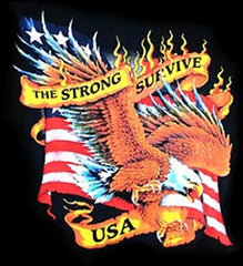 THE STRONG SURVIVE EAGLE BLACK SHORT SLEEVE TEE-SHIRT  (Sold by the piece)  *- CLOSEOUT AS LOW AS $ 2.50 EA