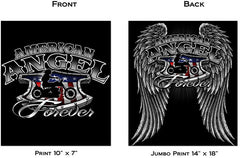 AMERICAN ANGEL FOREVER GIRL BIKER SHORT SLEEVE TEE-SHIRT  (Sold by the piece) *- CLOSEOUT AS LOW AS $ 3.75 EA