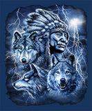 BLUE COLOR TEE INDIAN CHIEF WITH THREE WOLVES SHORT SLEEVE TEE-SHIRT  (Sold by the piece)XXLG ONLY