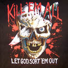 KILL EM ALL SKULL KNIFE SHORT SLEEVE TEE SHIRT (Sold by the piece)