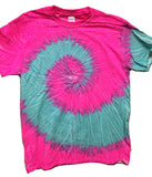 PINK SEAFOAM TYE TIE DYED SHORT SLEEVE TEE SHIRT (Sold by the piece)