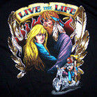 LIVE THE LIFE BLACK SHORT SLEEVE BIKER TEE-SHIRT (Sold by the piece)  *- CLOSEOUT AS LOW AS $ 1.95 EA