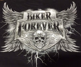 BIKER FOREVER SKULL & LIGHTNING BLACK SHORT SLEEVE TEE-SHIRT  (Sold by the piece) *- CLOSEOUT NOW ONLY $2.95 EA