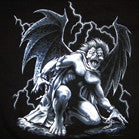 GARGOYLE WITH WINGS BLACK SHORT SLEEVE TEE-SHIRT (Sold by the piece) -* CLOSEOUT NOW ONLLY $  2.50 EACH
