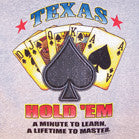 GREY TEXAS HOLD 'EM SHORT SLEEVE TEE-SHIRT SIZE MEDIUM ONLY  (Sold by the piece) *- CLOSEOUT $1 EA