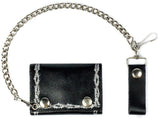 BARBED WIRE TRIFOLD LEATHER WALLETS WITH CHAIN (Sold by the piece)