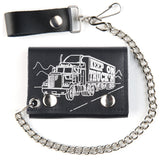 KEEP ON TRUCKIN TRIFOLD LEATHER WALLETS WITH CHAIN (Sold by the piece)