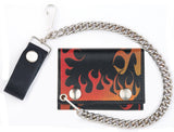 FIRE FLAMES TRIFOLD LEATHER WALLETS WITH CHAIN (Sold by the piece)