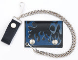 BLUE FLAMES TRIFOLD LEATHER WALLETS WITH CHAIN (Sold by the piece)