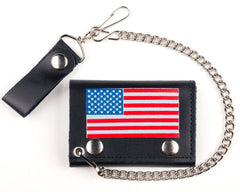 AMERICAN FLAG TRIFOLD LEATHER WALLETS WITH CHAIN (Sold by the piece)