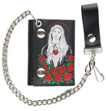GUADALUPE MARY ROSES TRIFOLD LEATHER WALLETS WITH CHAIN (Sold by the piece)