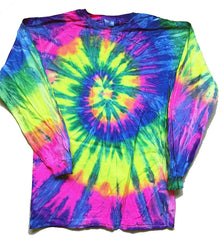 CRAZY RAINBOW LONG SLEEVE TYE DYE TEE SHIRT ( sold by the piece )