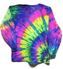 SUNBURST RAINBOW SWIRL LONG SLEEVE TYE DYE TEE SHIRT ( sold by the piece )