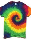 SMOOTH RAINBOW TYE TIE DYED SHORT SLEEVE TEE SHIRT (Sold by the piece)
