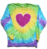 HEART BURST RAINBOW LONG SLEEVE TYE DYE TEE SHIRT ( sold by the piece )