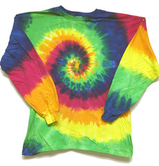 SMOOTH RAINBOW STRIPES SWIRL LONG SLEEVE TYE DYE TEE SHIRT ( sold by the piece )