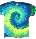 YELLOW SEAFOAM TYE TIE DYED SHORT SLEEVE TEE SHIRT (Sold by the piece)