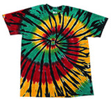 RASTA WEB RAINBOW SWIRL TIE DYED TEE SHIRT ( sold by the piece ) * CLOSEOUT $ 4.95 EA