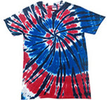 AMERICAN FLAG WEB SWIRL RAINBOW TIE DYED TEE SHIRT ( sold by the piece )