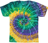 MARDI GRAS SWIRL RAINBOW TYE TIE DYED TEE SHIRT (Sold by the piece)