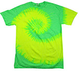 NEON GREEN SWIRL TYE TIE DYED TEE SHIRT (Sold by the piece)