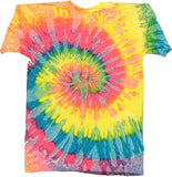 PASTEL RAINBOW SATURN SWIRL TIE DYED TEE SHIRT (Sold by the piece)