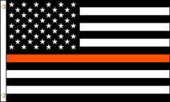AMERICAN BLACK WHITE ORANGE THIN LINE police  3 X 5 FLAG ( sold by the piece )