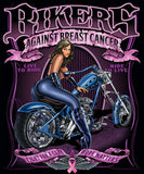 BREAST CANCER CHICK ON MOTORCYCLE SHORT SLEEVE TEE-SHIRT  (Sold by the piece) *- CLOSEOUT AS LOW AS $ 2.95 EA