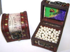 TREASURE CHEST FILLED WITH PEARLS ( SOLD BY THE PIECE ) * CLOSEOUT NOW ONLY $ 2.50 EA