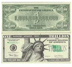 TRILLION DOLLAR BILLS FAKE NOVELTY PLAY MONEY  (Sold by the pad of 25 bills)