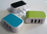 TRIPLE USB WALL PLUG IN PHONE CHARGER ACCESSORY ( sold by the bag of 10 pieces )