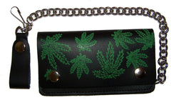 MULTIPLE POT LEAVES MARIJUANA  6 INCH BIKER / TRUCKER LEATHER WALLET WITH CHAIN (Sold by the piece)
