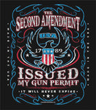 2nd AMENDMENT GUN PERMIT SHORT SLEEVE TEE SHIRT (Sold by the piece)  *- CLOSEOUT AS LOW AS $ 3.95 EA