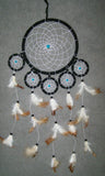 TURQUOISE BEADS 22 INCH BLACK DREAM CATHER WITH FEATHERS (sold by the piece )