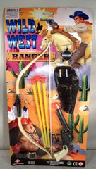 LARGE COWBOY PLAY SET W PISTOL & BOW  (Sold by the dozen) *- CLOSEOUT $ 1 EACH