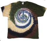 CAMOUFLAGE PEACE SIGN TYE DYE TEE SHIRT (Sold by the piece)