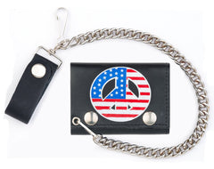 USA PEACE SIGN TRIFOLD LEATHER WALLETS WITH CHAIN (Sold by the piece)