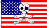AMERICAN SKULL X BONES PIRATE 3 X 5 FLAG ( sold by the piece )