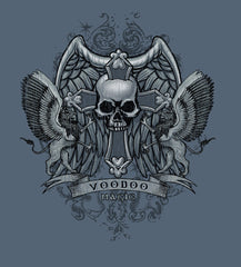 VooDoo magic SKULL CROSS SHIELD GREY TEE SHIRT ( sold by the piece )