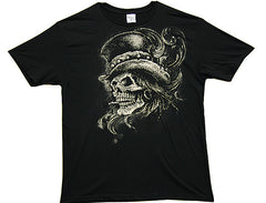 magic SKULL STOVE TOP HAT TEE SHIRT ( sold by the piece ) -* CLOSEOUT NOW ONLY 2.95 EA
