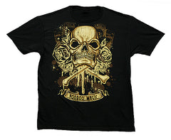 magic SKULL BONES ROSES BLACK TEE SHIRT ( sold by the piece ) -* CLOSEOUT NOW ONLY 2.95 EA