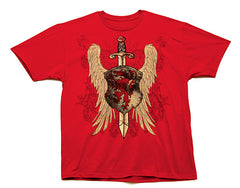 VooDoo magic SKULL WINGS SHIELD RED TEE SHIRT ( sold by the piece )