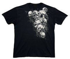 VooDoo magic PILE OF SKULLS BLACK TEE SHIRT ( sold by the piece )