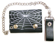 SPIDER WEB TRIFOLD LEATHER WALLETS WITH CHAIN (Sold by the piece)