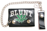 BLUNT MARIJUANA POT LEAF TRIFOLD LEATHER WALLETS WITH CHAIN (Sold by the piece)